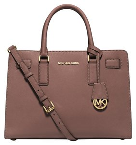 Michael Kors Leather Saffiano Dillon Satchel in Dusty Rose