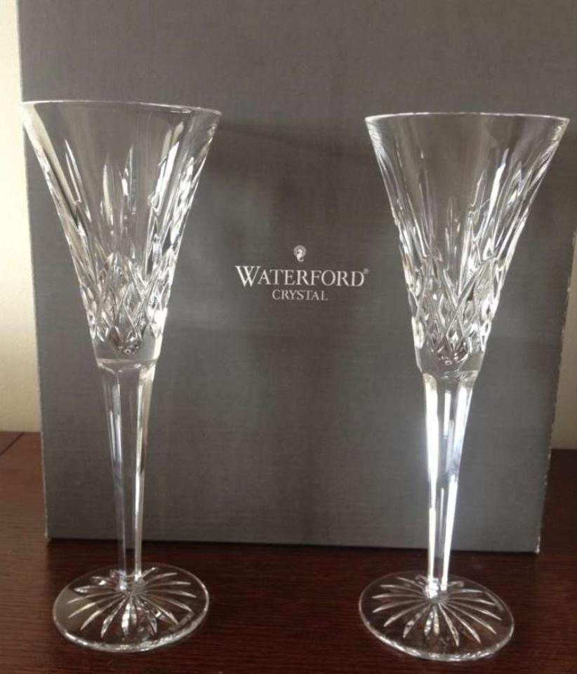 Waterford Pair Of Lismore Champagne Toasting Flutes