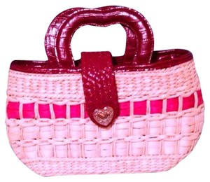 Tote in Tan, Red & Silver
