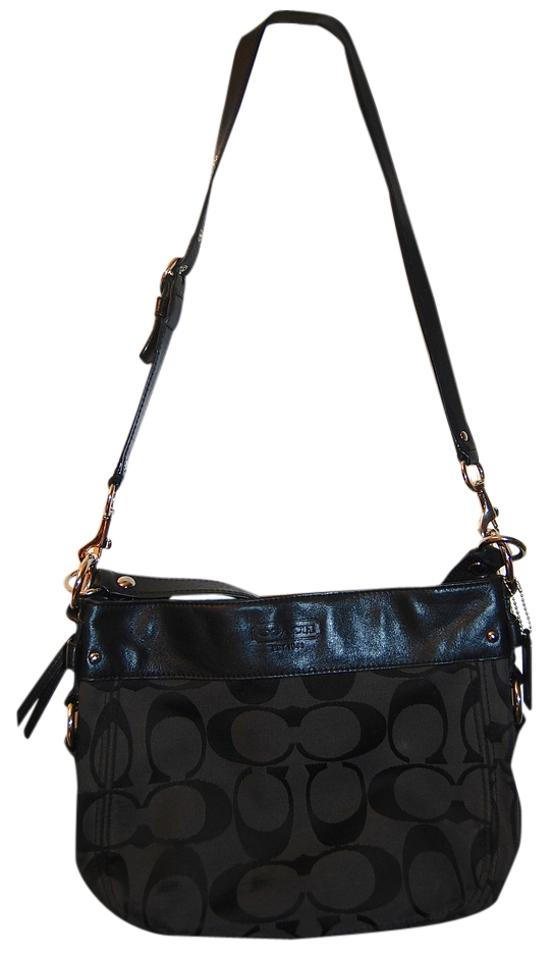 7662d2d01a97 Coach F14708 Black Signature Leather and Fabric Cross Body Bag - Tradesy