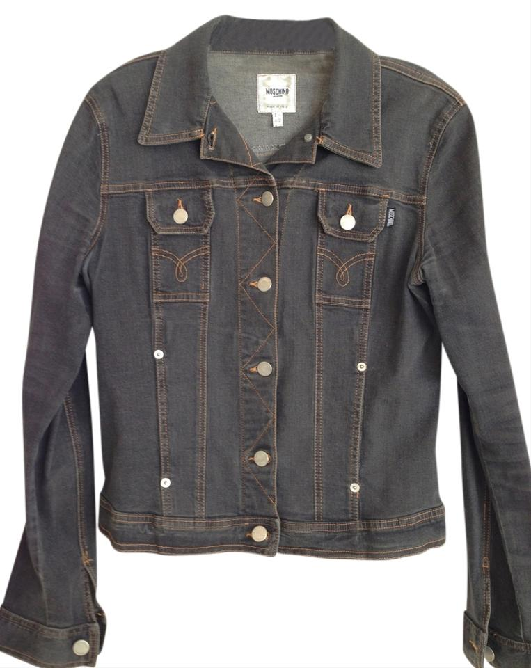 e1c3560561677 Moschino Stretchy Graphite Gray denim Womens Jean Jacket Image 0 ...