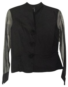 Etcetera Silk Shear Rosette Top Black
