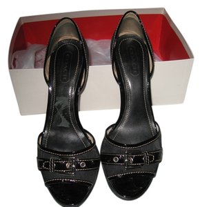 Coach Leather Patent Leather Black Sandals
