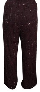 Heidi Weisel Evening Trouser Elegance Sequin Straight Pants Burgundy