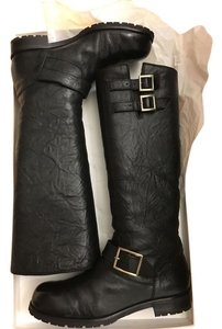 Jimmy Choo Biker Rabbit Fur Cold Weather Snow Black Boots