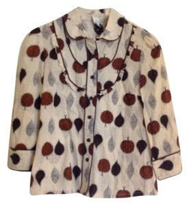 Odille Anthropologie Western Leaf Print Brown Off White Fall Button Down Shirt Cream