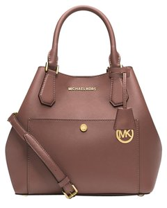 Michael Kors Leather Saffiano Greenwich Satchel in Dusty Rose