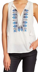 Joie Kuna Embroidery Small Smock Top PORCELAIN
