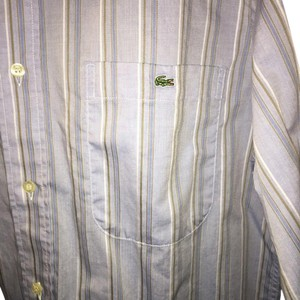Lacoste Stripe Cotton Mens Longsleeve Button Down Shirt Blue