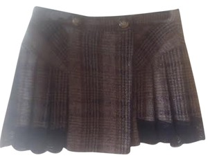 Dolce&Gabbana With Pleats Wool Mini Skirt plaid brown tones / Black