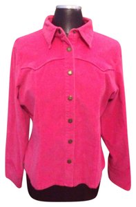 Limit One Button Down Shirt Hot Pink