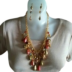 Vintage Double Strand Gold Multi Color Necklace Set