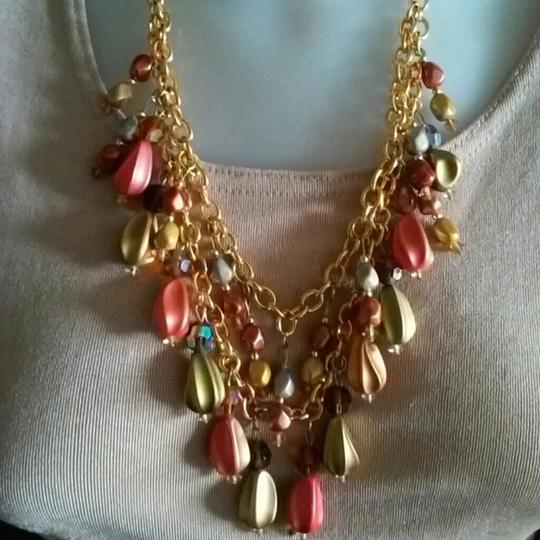 Other Vintage Double Strand Gold Multi Color Necklace Set