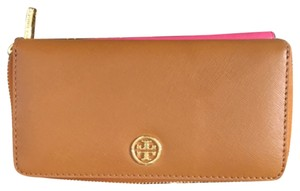Tory Burch NWT Tory Burch Robinson Multi-Gussett Zip Continental Wallet Saffiano Luggage Brown Natural Leather New