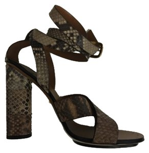 Gucci Brown leather and Neutral python straps Platforms