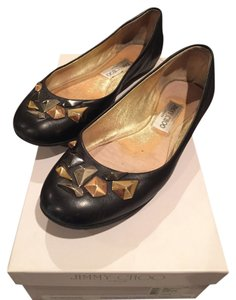 Jimmy Choo Leather Studded Gold Rose Gold Black Flats