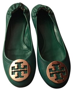 Tory Burch Green and Gold Flats