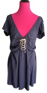 Free People short dress Blue Designer Tunic Heather Short Sleeve Low V Low Back Gathered Adorable Lace Up Spring Summer Weekend Wear on Tradesy