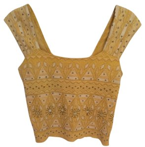 Free People Embroidered Beaded Crop Smock Festival Top Golden Yellow