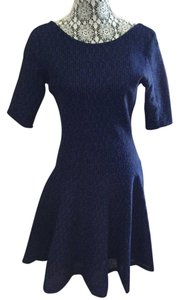Dior Scoop Back Neckline Three Quarter Sleeves Fit & Flare Dress