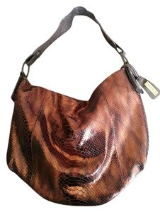 NICOLI Metallic Snakeskin Shoulder Bag