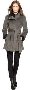 Lauren Ralph Lauren Wool Shearling Faux Fur Pea Coat