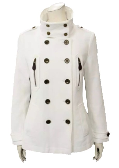 Item - White Canvas Double Breasted Jacket Coat Size 12 (L)
