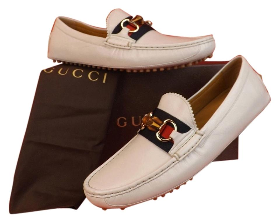 076d2136031 Gucci White Blue Horsebit Ice Leather Damo Web Bamboo Driver Loafers ...