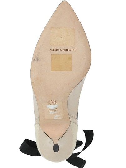 Alberta Ferretti Mesh Sneakers Patent Leather Beige and Black Pumps