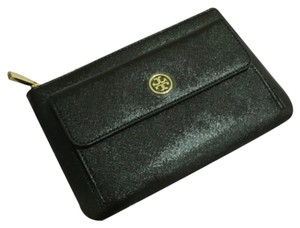 Tory Burch Tory Burch Robinson Black Metallic Glazed Saffiano Leather Zip Pouch Wallet Bag New