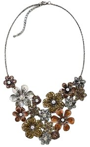 Mixit Copper Brass Pewter Flower Cubic Zirconia Statement Necklace