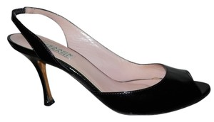 Isaac Mizrahi Leather Peep Toe black Pumps