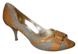 Luciano Padovan Leather Croc Peep Toe tan Pumps