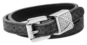 Michael Kors New Michael Kors Black Leather And Silver Tone Pave Wrap Bracelet