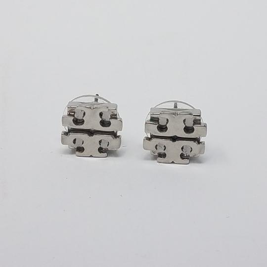 Tory Burch Silver-tone Tory Burch Reva logo emblem stud earrings