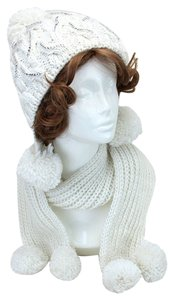 Ivory and Clear Rhinestone Pom Pom Accent Knitted Winter Scarf and Beanie Hat Set