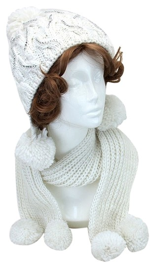 Other Ivory and Clear Rhinestone Pom Pom Accent Knitted Scarf Set Image 0