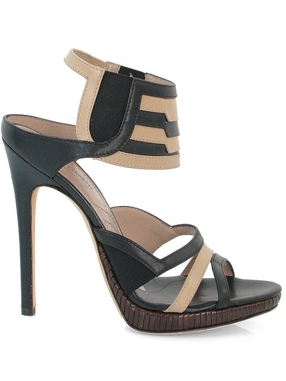 Alberta Ferretti Woven Gladiator Stripes Beige and Black Sandals