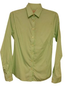 Banana Republic Non-iron Iron Cotton French Cuff Shirt Blouse Button Down Shirt Light green, White