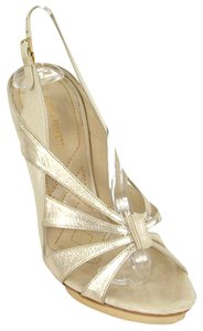 Alberta Ferretti Formal Slingback Gold Sandals