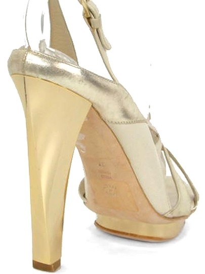 Alberta Ferretti Formal Slingback Hardware Metallic Gold Sandals