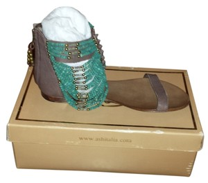 Ash Beaded Leather Brown/Turqoise Sandals