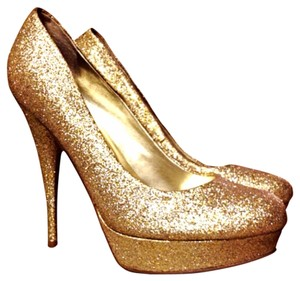 Guess Gold Glitter Platforms