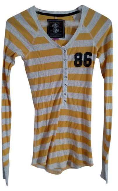 Item - Yellow and White Stripes Tee Shirt Size 12 (L)