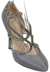 Alberta Ferretti Wire Prom Wedding Satin Silver Hardware Gray Formal