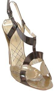 Alberta Ferretti Patent Leather Slingback Brown and Beige Sandals