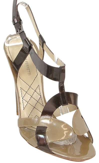 Item - Brown and Taupe Golden Bronze Patent Leather Cutout Sandals Size US 7 Regular (M, B)