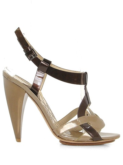 Alberta Ferretti Patent Leather Slingback Bronze Brown and Beige Sandals
