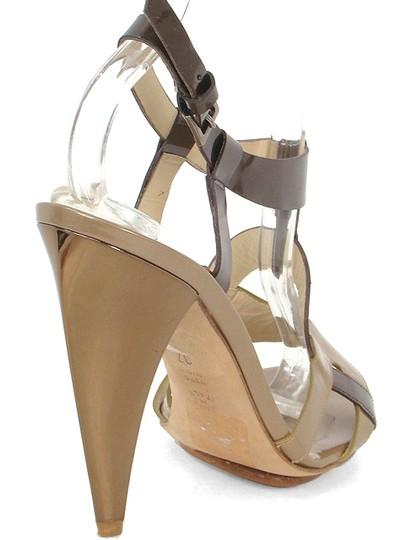 Alberta Ferretti Patent Leather Slingback Bronze Cut-out Brown and Taupe Sandals Image 2