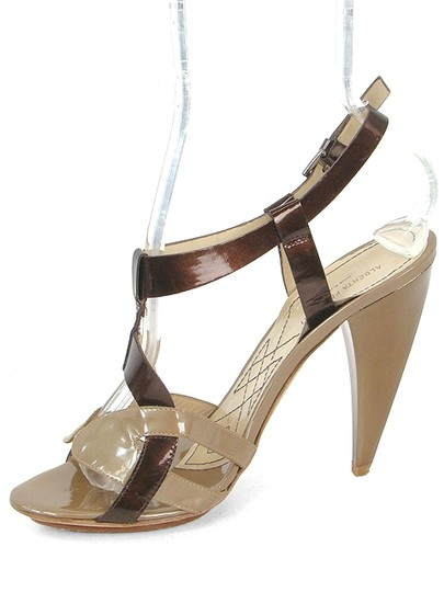 Alberta Ferretti Patent Leather Slingback Bronze Cut-out Brown and Taupe Sandals Image 3